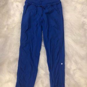 bright blue lululemon studio pant